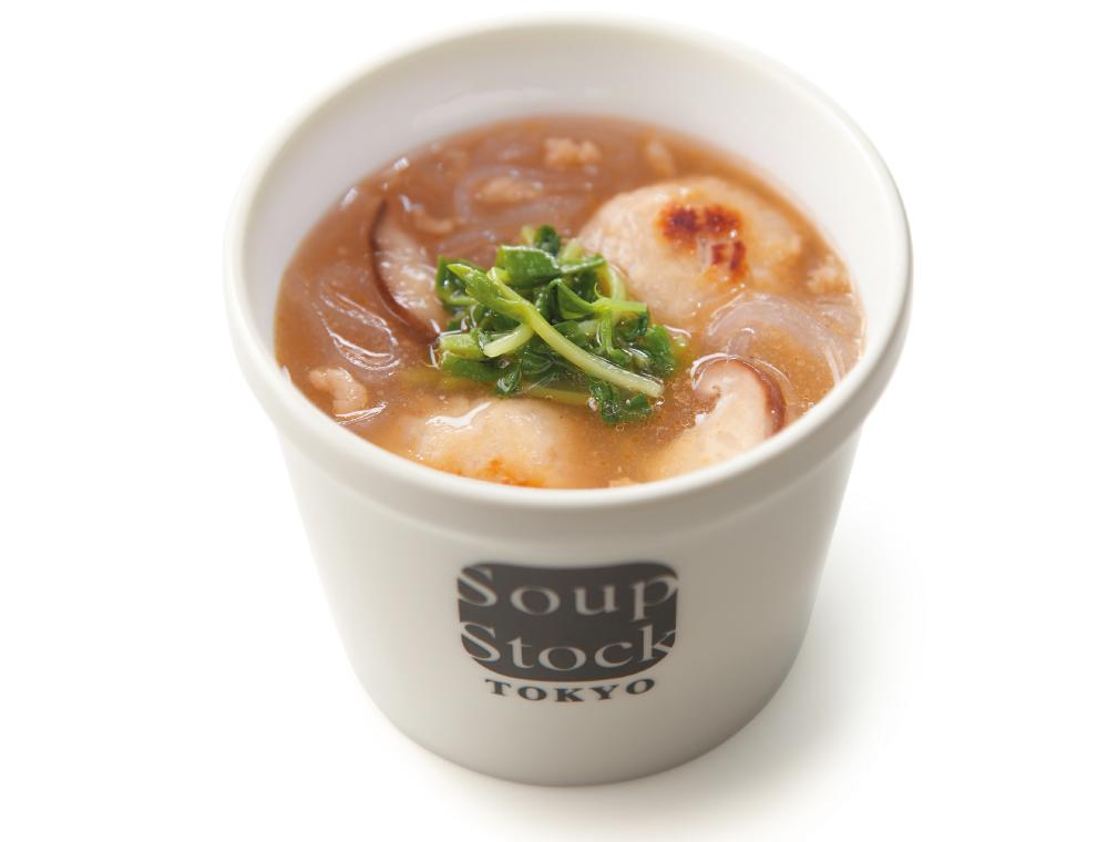 鶏つくねと春雨の黒酢煮込みスープ